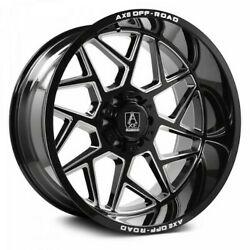 4 New 22x12 Axe Off Road Nemesis Black Milled Wheels 8x180 Chevy Gmc 2500