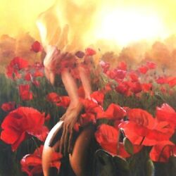 Original Incredible Painting Oil/canvas 42x42 Nudes Poppy Field Of Love Eu🇲
