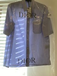 Air Dior Blue Short Sleeve Button Up 38 Brand New W/ Tags In Hand Unreleased