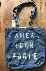 American Eagle Denim Tote School Bag Beach Bag New With $39.95 Tag $25.00