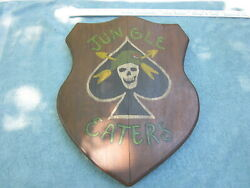 Vietnam War Us Army Jungle Eaters Wood Plaque From Estate Of Vet
