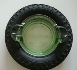 Firestone Rubber Tire Ashtray Glass Insert With Good Year Name X