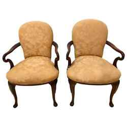 Pair Of Queen Anne Style Open Armchairs Or Bergeres 101-5th-10