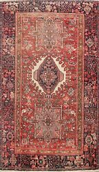 Antique Vegetable Dye Gharajeh Geometric Hand-knotted Tribal Area Rug 4x6 Carpet