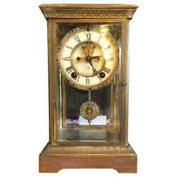 Crystal Face And Pendulum Clock Made By Ansonia Clock Of New York 101-2926