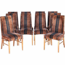 Set 10 Vintage American Mid Century Modern Tall Back Dining Side Chairs C. 1970