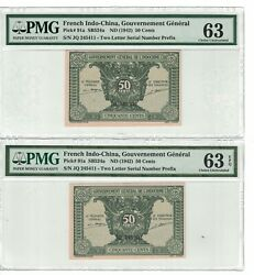 French Indochina Lot Of 2 Matching Serial X 50 Cents 1942 Pick 91a 2257