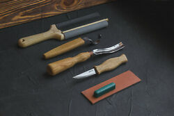 Spoon And Kuksa Carving Professional Set With Knives, Bent Gouge And Strops Beav