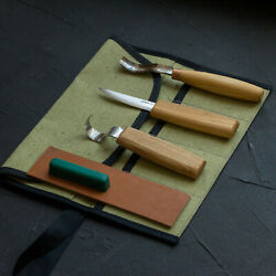 Spoon And Kuksa Carving Set With Knives, Bent Gouge Tool Roll Beavercraft