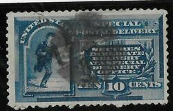 Us Stamp,scott E-1,used,1885,10 Cent,special Delivery,blue