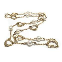And Co. 18k Yellow Gold Elsa Peretti Akoya Pearl Open Heart Necklace 15