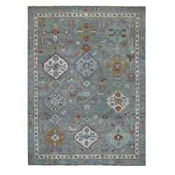 9'x12'4 Gray Anatolian Collection With Pop Of Color Geometric Design Rug G55114