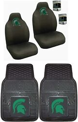 Michigan State Spartans Car Truck Front Heavy Duty Floor Mats Set And Seat Covers
