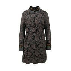 Nwt Valentino Embroidered With Feather Collar Long Sleeve Dress Size 6/42 8850