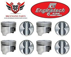 Enginetech Chevy Chevrolet 350 5.7 Flat Top Pistons 8 1968 - 1995