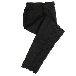 Nwt Valentino Black Cotton Floral Lace Pleated Pants Size 4/42 2788