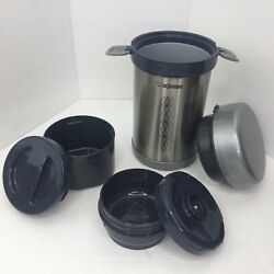 New Zojirushi - Bento Lunch Thermos - Stainless-steel - W/ 2 Containers - Silver