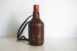 Vintage Handmade Colombian Leather Covered Glass Bottle Canteen Pre Owned