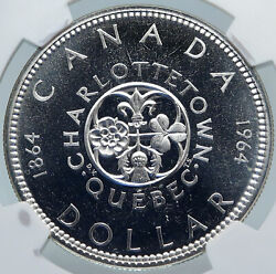 1964 Canada Quebec Charlottetown Vintage Prooflike Silver Dollar Coin Ngc I85228