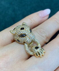 Diamond And Onyx Panther Wrap Ring In 18k Yellow Gold - Hm2156ab