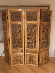 Vintage Ornate Asian 4 Panel Wood Hand Carved Chinoiserie Room Divider/partition