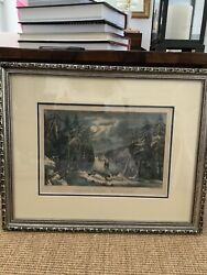 Currier And Ives Skating Scene Moonlight Lithograph Painting Framed