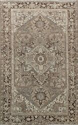Antique Muted Geometric Heriz Area Rug Evenly Low Pile Hand-knotted Wool 7x11 Ft