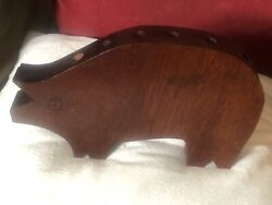 An Unusual Old Carved Wooden Pig Probably A Pen Holder Lovely Dark Patina