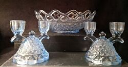 1930and039s Imperial Katy Blue Lace Edge Double Candle Holders Candelabra And Bowl