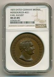 Germany States Saxe-weimar-eisenach 1825 Carl August Bronze Medal Ms65 Bn Ngc