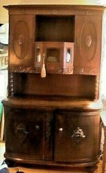 Antique French Country Edwardian Victorian Hutch Buffet Hand Carved Late 1800's