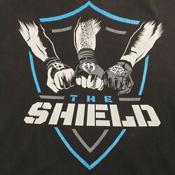 WWE The Shield Fists Logo Roman Reigns Dean Ambrose Seth Rollins T Shirt XXL