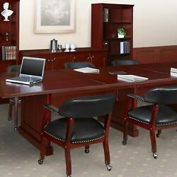 Traditional Conference Room Table And Chairs Set, Meeting Table Set, Mahogany Wood