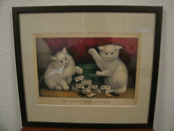 Antique 19th Cent. Currier And Ives Print My Little White Kitties Playing Dominoes