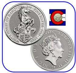 2020 Queenand039s Beast White Horse Of Hanover 2 Oz Silver Coin In Direct Fit Capsule