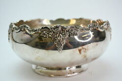 Baroque By Wallace Silverplate 706 Footed Serving Fruit Bowl With Floral Design