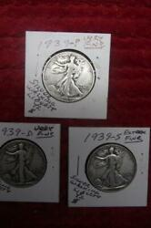 1939-p-d-s Silver Walking Liberty Half Dollar Year Set, Vfand Ext Condition 1