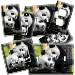 Cute Baby Panda Bear Cub And Mother Light Switch Outlet Wall Plate Room Hd Decor