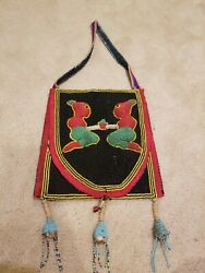 Vintage African Handmade Beaded Leather Pouch Medicine Bag Rare 👍