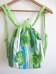 womens beach backpack drawstring bucket 100% COTTON green blue floral sequin $1.00