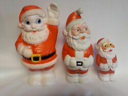 Vintage Rubber Squeak Toys, Santas, Sanitoy, Stahlwood, And Dog Santa, Lot Of Four