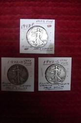 1942-p-d-s Silver Walking Liberty Half Dollar Year Set, Very Fine Condition 1