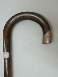 Antique Shepards Crook Handle Cane With Sterling Cap