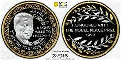 Pure Gold And Silver 2011 Pcgs Pr70dcam Norway Nelson Mandela Nobel Peace 25324r