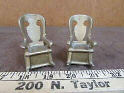 Vintage Salt And Pepper Shakers Metal Rocking Chairs Gold