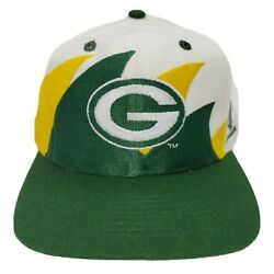 Vintage 90s Green Bay Packers Logo Athletic Double Sharktooth Snapback Hat Cap 7