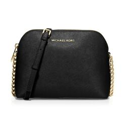 NWT Michael Michael Kors Cindy Large Dome Crossbody Leather Bag BLACK AUTHENTIC $134.00