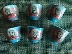 Polia Pillin Pottery Mid-century Sake Cup Set Of 6 Blue With Womanandrsquos Face Rare