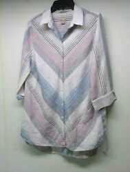 Chico's Linen SHIRT Size 2 = Large CUTE Crisp Stripes 34 Sleeves TUNIC TOP $8.60