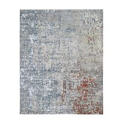 8'x10'1 Abstract Design Wool And Silk Denser Weave Hand Knotted Rug G59068